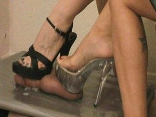 High heel cock and ball trampling